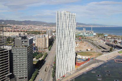 Imagen aérea de la Torre Diagonal Zero Zero de Barcelona.