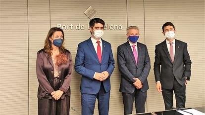 La todavía presidenta del Puerto de Barcelona, Mercè Conesa; el vicepresidente del Govern, Jordi Puigneró; el presidente de Puertos del Estado, Francisco Toledo, y el exconseller y futuro presidente del enclave Damià Calvet.