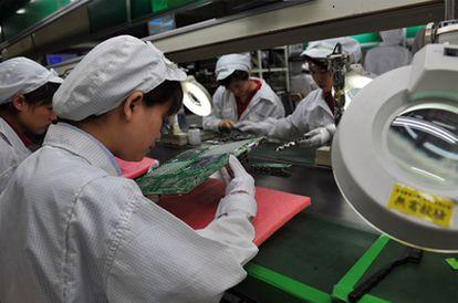 Fábrica de ensamblaje de Foxconn en Shenzhen, el pasado 26 de mayo.