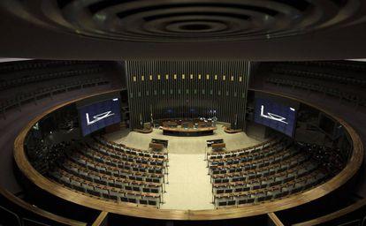 La Cámara de los Diputados de Brasil, desierta tras la suspensión de las sesiones.