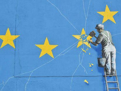 Detalle del mural, ahora desaparecido, de Banksy en Dover.