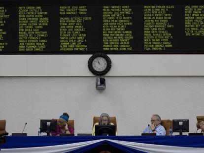 La Junta Directiva del Parlamento de Nicaragua, este martes, en Managua.
