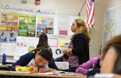 Class in Spanish at a school in Los Angeles (California) in 2019.