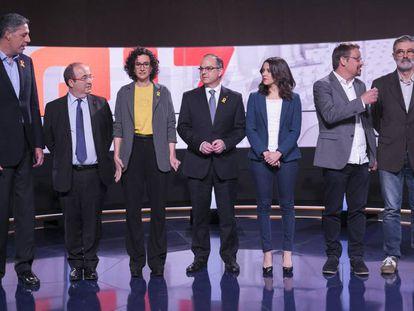 Los candidatos a las elecciones del 21-D durante el debate electoral de TV3, el pasado 18 de diciembre.