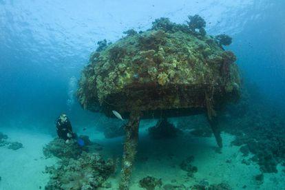 Estación submarina 'Conshelf II', en el arrecife de Shab Rumi (Sudán).