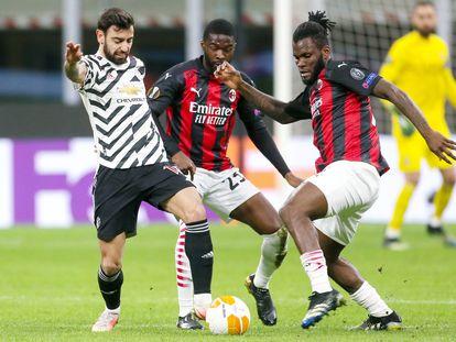 Bruno Fernandes, el pasado jueves en el duelo del United contra el Milan.