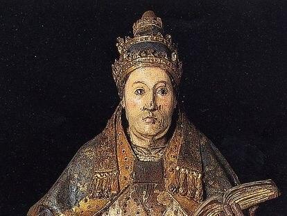 San Gregorio Magno, obra de Felipe Bigarny, en el Museo de la Universidad de Salamanca.