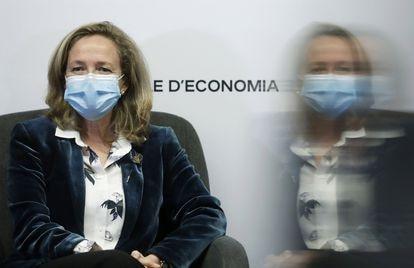 La vicepresidenta Nadia Calviño durante una conferencia el pasado lunes en el Círculo de Econmía de Barcelona.