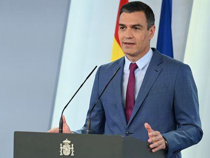 Pedro Sánchez, durante su comparecencia en La Moncloa este sábado.