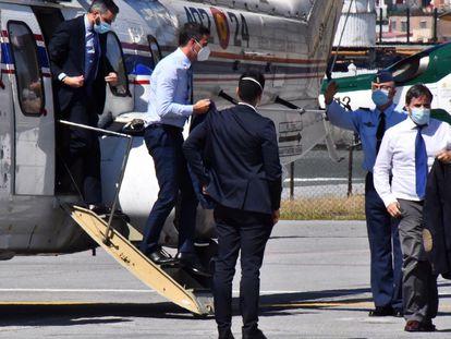 El presidente del Gobierno, Pedro Sánchez a su llegada a Ceuta.