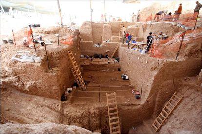 Excavaciones en la cantera de Nesher Ramla, en el centro de Israel.