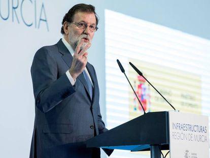 El presidente del Gobierno Mariano Rajoy, este miércoles en Murcia.