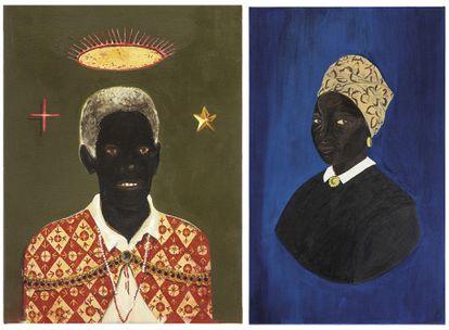 Retratos de Chico Rei (izquierda), del artista Antonio Oba, y de Afra Joaquina Vieira Muniz, de la artista Monica Ventura.