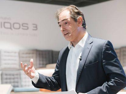 Enrique Jiménez, director general de Philip Morris para España y Portugal, durante la presentación de los nuevos productos este lunes.