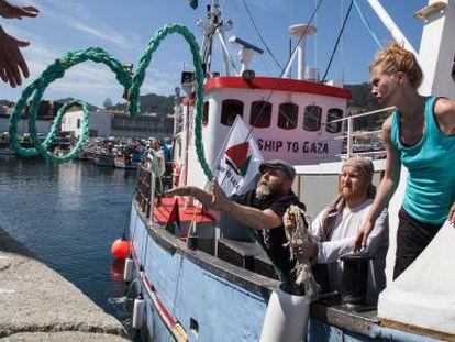 Los activistas de Rumbo a Gaza, a bordo del buque Marianne.