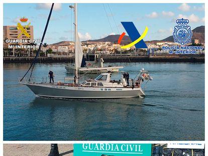 Una operación conjunta de Guardia Civil, Policía Nacional y Agencia Tributaria culmina con el abordaje de un velero con 1.200 kilos de cocaína en las costas canarias.