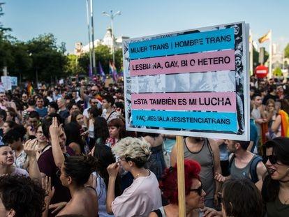 Protesta durante el día del Orgullo de 2018.