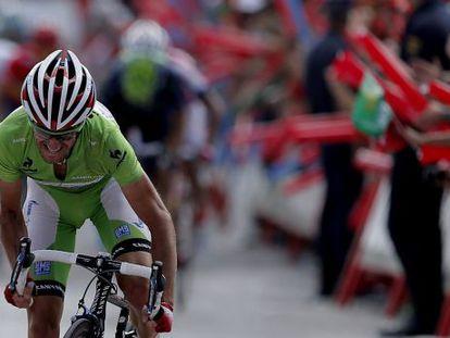 Dani Moreno, en el último trampo de la etapa.