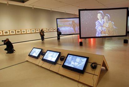 La sala de exposiciones de la Alhóndiga, donde se exhibe La mirada del samurái.