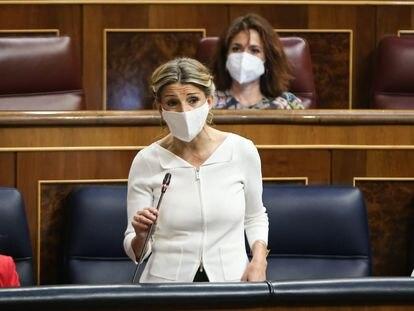 La vicepresidenta de Trabajo y Economía Social, Yolanda Díaz, en la sesión de control al Gobierno en el Congreso el pasado miércoles.