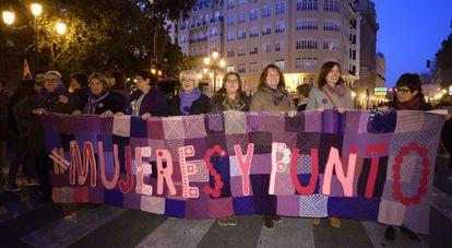 Una de las pancartas de la manifestación en Valencia con motivo del 8 de Marzo.