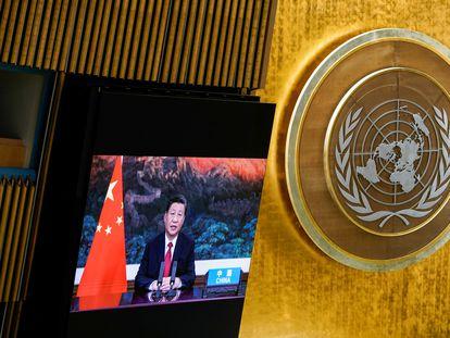 El presidente chino, Xi Jinping, interviene virtualmente en la 76ª Asamblea General de la ONU, este martes.