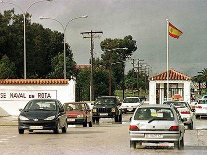 Entrada principal de la base naval de Rota, en Cádiz.