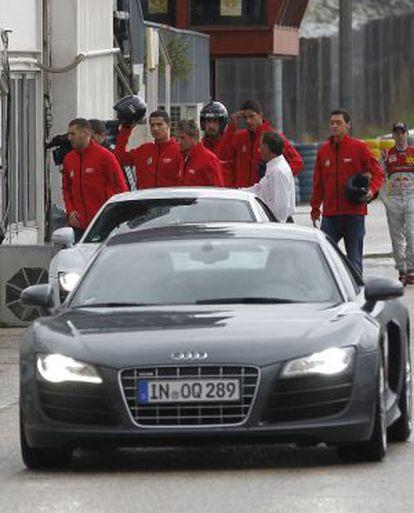 Jugadores del Real Madrid, en el circuito de San Sebastián de los Reyes.