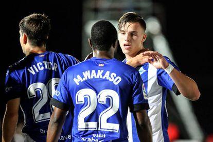 Demirovic celebra su gol al Formentera