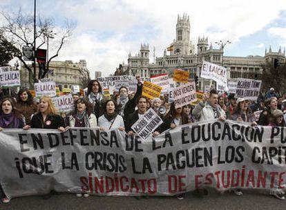 Imagen de la protesta anti-Bolonia en el centro de Madrid