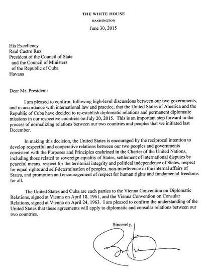 Misiva enviada por Barack Obama.