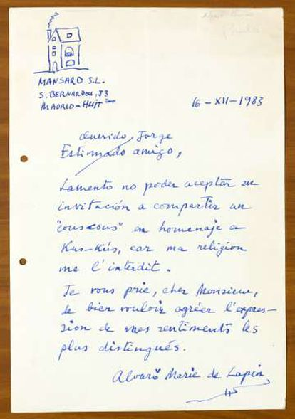 Carta de Álvaro Pombo.
