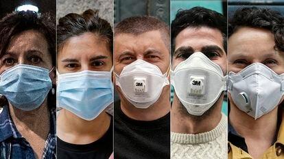 De izquierda a derecha, mascarilla higiénica, quirúrgica, FFP1, FFP2 y FFP3. Álvaro García/Andrea Comas