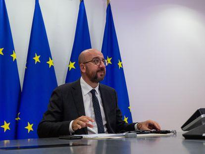 El presidente del Consejo Europeo, Charles Michel, durante una videoconferencia en Bruselas, este martes.