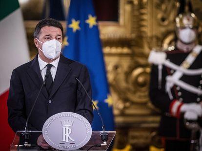Matteo Renzi, líder de Italia Viva, en el palacio del Quirinal, el 28 de enero.