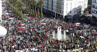 """Manifestación en Rabat el domingo contra las palabras de Ban Ki-Moon sobre la """"ocupación"""" del Sáhara."""