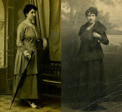 A la izquierda, imagen de Gala, y a la derecha, foto en el que el profesor Torrado identifica a Rosalía, ambas archivadas en la Real Academia.