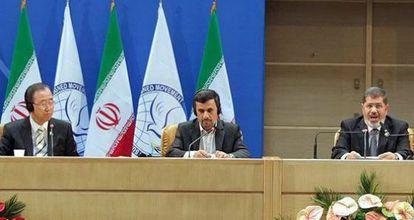 Ban, Ahmadineyad y Morsi este jueves en la Cumbre de los No Alineados.