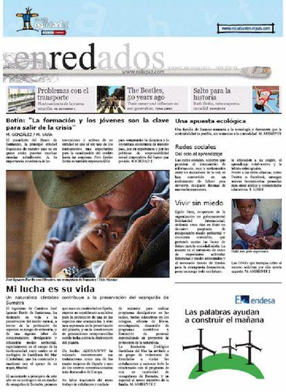 Imagen de la portada del periódico 'Enredados' del colegio Nuestra Señora de la Paz de Torrelavega (Santander)