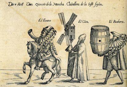 Primera imagen conocida de Don Quijote, Sancho Panza y otros personajes de la novela, de Andreas Bretschneider.