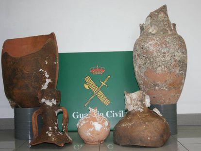 Ánforas romanas incautadas en Girona.