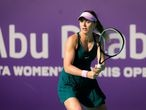 Paula Badosa of Spain in action during her third round match at the 2021 Abu Dhabi WTA Womens Tennis Open WTA 500 tournament against Veronika Kudermetova of Russia
