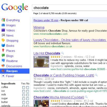 Recipe View de Google.