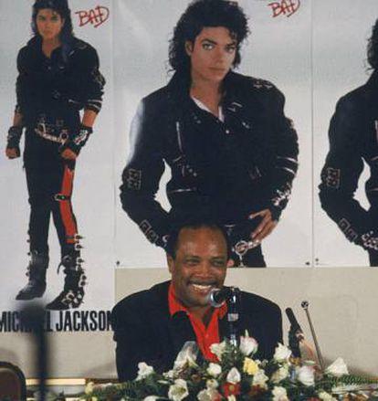 El productor Quincy Jones, durante un acto de presentación de 'Bad'.