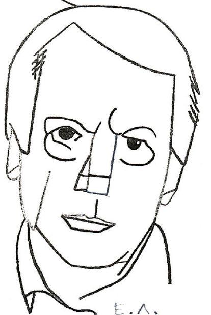 Jorge Semprún, en un dibujo realizado ayer por el artista Eduardo Arroyo.