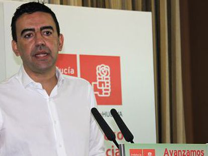 Mario Jiménez, ayer, durante su intervención en el congreso del PSOE en Huelva.