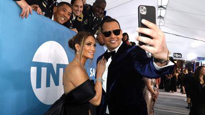 Jennifer Lopez y Alex Rodriguez en los premios Screen Actors Guild celebrados en Los Ángeles, California, en enero de 2020.