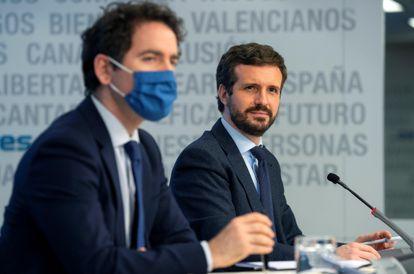 El presidente del PP, Pablo Casado y el secretario general, Teodoro García Egea, el pasado 9 de marzo durante el Comité de Dirección de la formación.