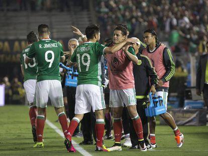 El equipo mexicano durante un partido de la Copa América pasada