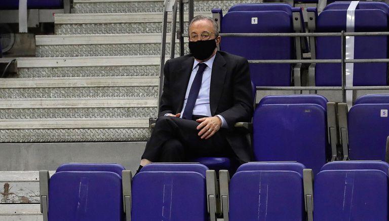 Florentino Pérez, en el Palacio en un partido de Euroliga entre el Madrid y el Khimki.